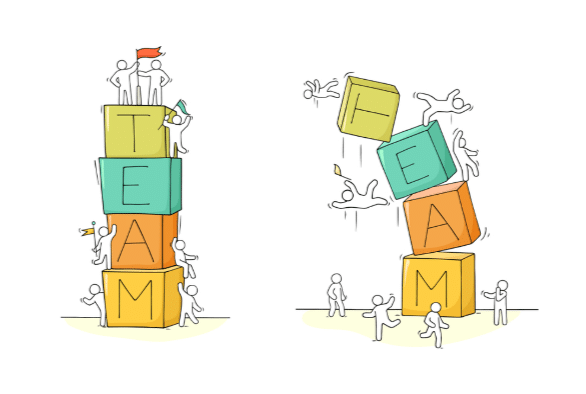 Two piles of blocks spelling out the word team, the one on the left standing firm and the one on the right collapsing. A visual metaphor indicating employee ownership can help build a stronger team