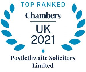 a badge from Chambers Directory showing that Postlethwaite Solcitors are a highly ranked firmamongst other law firms for employee share schemes and employee ownership